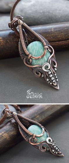 Amazonite pendant // Blue amazonite copper wire wrapped necklace // Wire wraped copper amazonite pendant necklace // Wire wrapped jewelry
