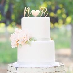 Just love the idea of using the bride and groom initials. | http://mysweetengagement.com/galleries/wedding-cakes