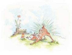 Paula Bowles Illustration - paula, paula bowles, bowles, paint, painted, watercolour, traditional, commercial, picture book, picturebook, sweet, animals, deer, fawn, fawns