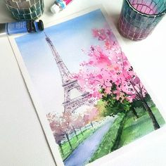 Kunst Zeichnungen - Blooming Paris coming soon Затаив дыхание, жду, когда от. Watercolor Drawing, Watercolor Illustration, Painting & Drawing, Watercolor Landscape Paintings, Easy Watercolor, Art Sketches, Art Drawings, Galaxy Drawings, Pastel Art