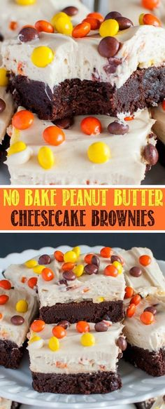 Reese's Pieces Peanut Butter Cheesecake Brownies are chocolate peanut butter heaven! The no bake cheesecake is the perfect topping to these fudgy brownies! (Halloween No Bake Treats) Easy No Bake Desserts, Köstliche Desserts, No Bake Treats, Yummy Treats, Delicious Desserts, Sweet Treats, Dessert Recipes, Fruit Recipes, Icebox Desserts