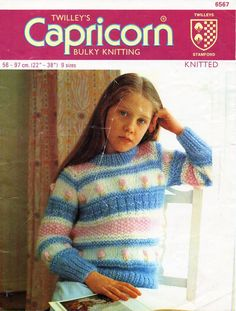 "childrens chunky striped sweater knitting pattern PDF girls jumper embroidered flowers 22-38"" chunky bulky 12ply Instant download by Minihobo on Etsy"