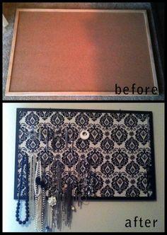 Prikbord pimpen met stof(papier blijft niet mooi denk ik, na meerdere punaises)