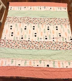 Boho Baby Feather Striped Rag Quilt by MudCreekCo on Etsy