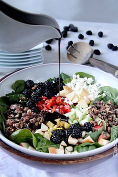 Blackberry Honey Walnut Salad by calrsbadcravings: Doused with the most delectable easy sweet, tangy Blackberry Balsamic Vinaigrette and packed with a rainbow of harmonious sweet and tart blackberries, apples, and mangoes. #Salad #Blackberry #Apple #Mango #Health