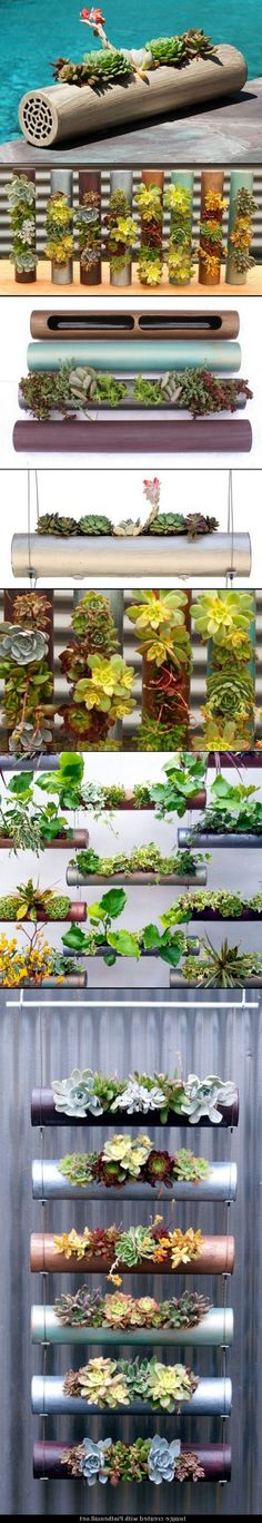 Cool DIY Indoor-Outdoor Modular Cylinder Planters with succulents Indoor Outdoor, Indoor Plants, Outdoor Gardens, Container Gardening, Gardening Tips, Diy Plante, Cactus Y Suculentas, Cool Diy Projects, Succulents Garden