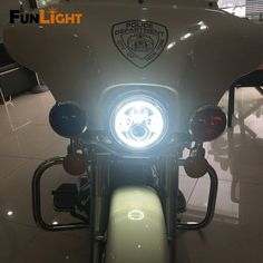 """Find More Headlights Information about 7"""" headlight For Harley Davidson Motorcycle H4 Led Headlamp Halo Motorcycle Headlight With Angle Eyes For Harley Moto Lighting,High Quality headlamp socket,China headlamp Suppliers, Cheap headlamp test from Car Light Fun Light Store on Aliexpress.com"""