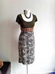 How to make a dress from an old tee and skirt- I've seen some cute printed skirts w/ bad fit at thrift shops I could do this with.