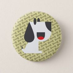 Bark Bark (Yellow) - Button - dog puppy dogs doggy pup hound love pet best friend