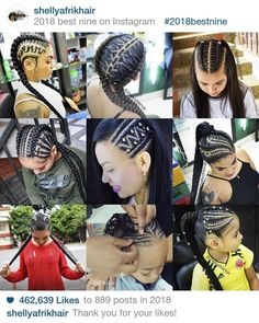 La imagen puede contener: 3 personas African Braids Hairstyles, Braided Hairstyles, Pretty Braids, Best Nine, Hair Game, Nail Spa, Little Girl Hairstyles, Cornrows, Fashion Books
