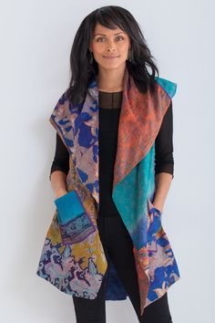 Silk Circular Vest #1 by Mieko Mintz . An exquisite statement piece created from vintage silk saris, this vest takes even the simplest outfit to