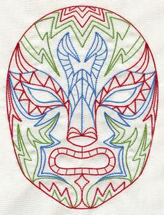 Luchador Mask   Urban Threads: Unique and Awesome Embroidery Designs
