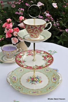 Pretty Pink and Green Vintage China Teacup Top Cake Stand