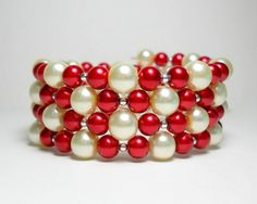 Memory Wire Bracelet Red and White Pearl Beaded Wrap Bracelet