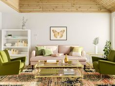 green room color schemes Green Room Colors, Green Color Schemes, Room Color Schemes, Green Rooms, Glam Living Room, Living Rooms, White Ceramic Planter, Mid Century Modern Living Room, Green Sofa