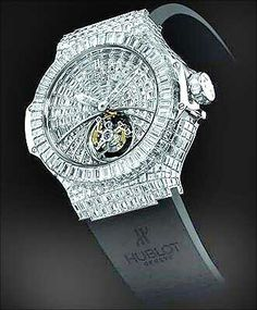 Big Bang Chronograph  These are manufactured by Hublot, Bunter SA; Hublot is in alliance with a diamond setting workshop, Bunter SA. These are worth 1 million dollars, only the diamonds are seen on this watch and everything else is totally disappeared.