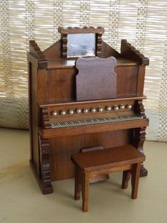 Vintage Shackman Miniature Wood Organ Piano w Bench Dollhouse | eBay