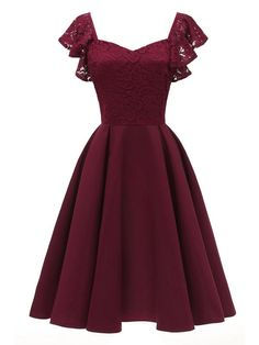 Berydress Elegant Women Dress Butterfly Sleeve Fit and Flare Swing Party Vestidos Burgundy Summer Dresses 2018 Navy Blue Robe Pretty Dresses, Sexy Dresses, Beautiful Dresses, Fashion Dresses, Casual Dresses, Cheap Dresses, Cute Dresses For Teens, Awesome Dresses, Floral Dresses
