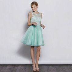 Lace top with chiffon a-line skirt elegant bridesmaid dress - Wedding look