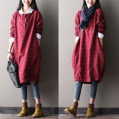 Round neck woolen dress - $69.00