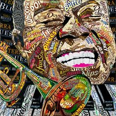 Louis Armstrong by Laura Benjamin Louis Armstrong, Pop Art, Collage Making, Paper Artwork, Candy Wrappers, Collage Artists, Gcse Art, Mixed Media Collage, Teaching Art