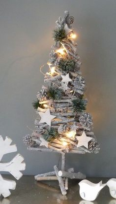 Driftwood Tree With Stars And Pine (LED Lights) by mac creative Diy Christmas Tree, Christmas Is Coming, Xmas Tree, Rustic Christmas, Simple Christmas, Handmade Christmas, Christmas Holidays, Christmas Wreaths, Christmas Ornaments