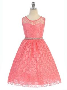 Coral All Lace Flower Girl Dresses with Pleated Skirt (Available in Sizes 2-20 in 7 Colors)