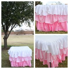 DIY Ruffle Ombre Tablecloth  Visit & Like our Facebook page: https://www.facebook.com/pages/Rustic-Farmhouse-Decor