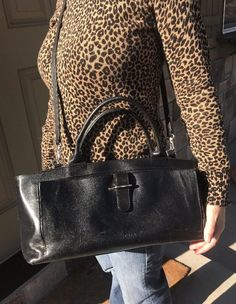 Furla Italy Black Smooth Gloss Handbag Satchel Long Strap Large Tote Satchel Bag  | eBay