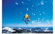 Poster Print Wall Art Print entitled Man Skiing, None