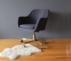 Modern Brass Base Swivel Desk Chair Pair by GallivantingGirls