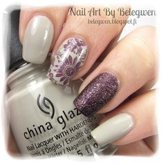 Nail Art by Belegwen: China Glaze Five Rules & Golden Rose 58. Stamps are from image plate W205 and stamping polish is China Glaze Rendezvous With You.
