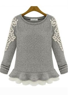 Sweet Ruffle Decorated Long Sleeve Round Neck Grey Pullovers