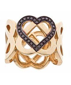 Gold interlocking HEART ring with featured black diamond heart