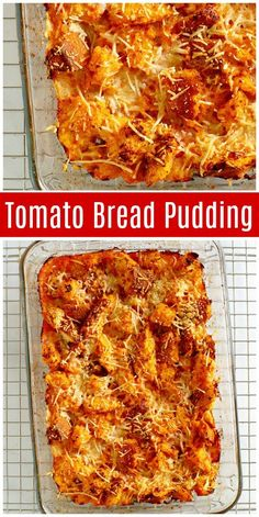 This Tomato Bread Pudding is a perfect side dish recipe to make in the summer months when tomatoes are ripe and delicious - pizza Side Dish Recipes, Vegetable Recipes, Vegetarian Recipes, Cooking Recipes, Chef Recipes, Recipies, Pudding Recipes, Casserole Recipes, Casserole Dishes