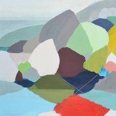 BelyndaHenry-'Aquamarine', acrylic and pastel on canvas, 86 x 86 cm