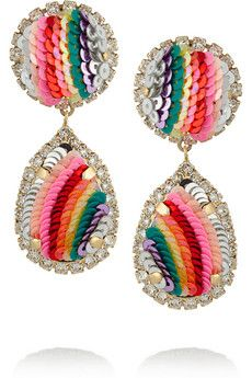 Shourouk Rainbow gold-plated, Swarovski crystal and sequin clip earrings | NET-A-PORTER