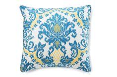 ikat pillow + azure yellow white XX<3