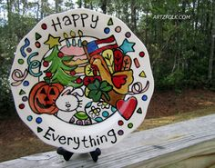 One of a kind Happy Everything ceramic platter 13 inch
