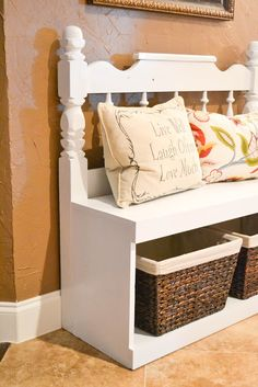 DIY Old Headboard Bench.make for front door entrance and/or laundry room! Would be perfect with the baskets underneath for additional storage. And I have an old headboard! Furniture Projects, Furniture Makeover, Home Projects, Diy Furniture, Furniture Design, Antique Furniture, Automotive Furniture, Modern Furniture, Painted Furniture