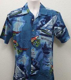 Jimmy Buffett Margaritaville Men's Latitude Camp Blue Shirt Size Small NWT…