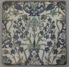 polychrome painted under a transparent glaze. Islamic Tiles, Islamic Art, China Painting, Ceramic Painting, Tile Art, Mosaic Tiles, Tile Panels, Turkish Art, Decorative Tile
