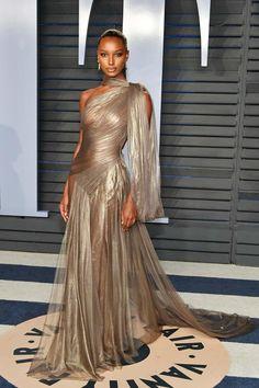 Jasmine Tookes wearing Jean-Louis Sabaji at the 2018 Vanity Fair Oscars party.