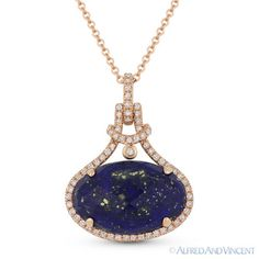The featured pendant is cast in 14k rose gold and showcases a finely crafted halo setting set with a checkerboard oval cut blue lapis center stone accentuated by round brilliant cut diamonds around the lapis and all the way up to the bale.