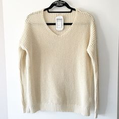 "BNWT cream vneck Bette sweater 26"" in length, 100% cotton Brandy Melville Sweaters V-Necks"