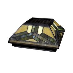 null 6 in. x 6 in. Solar Powered Stained Glass Post Cap