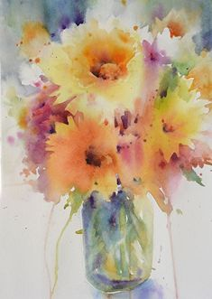 Sunny Bouquet by Yvonne Joyner Watercolor ~ 20 in. including mat x 16 in including mat