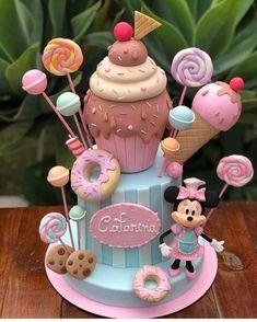 Happy Birthday Cake Girl, Candy Theme Birthday Party, Candy Birthday Cakes, Ice Cream Birthday Cake, Donut Birthday Parties, Ice Cream Party, Candy Party, Minnie Mouse Cake Design, Mini Mouse Cake