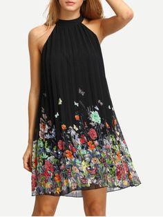 robe imprimée sans manche -Noir