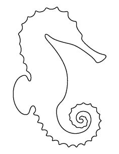 Sea horse pattern. Use the printable outline for crafts, creating stencils, scrapbooking, and more. Free PDF template to download and print at http://patternuniverse.com/download/seahorse-pattern/